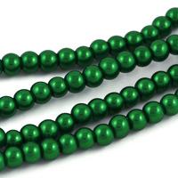 Vaxade glaspärlor, mörkgrön, 4mm – utförsäljning
