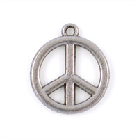 Berlock, peace-tecken, antiksilver, 18mm, 10st