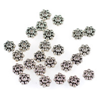 Mellandelar, daisy, antiksilver, 4,5mm
