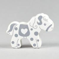 Motivpärla häst, vit-grå
