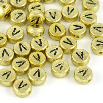 Bokstavspärlor guld *V*