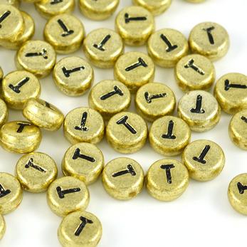 Bokstavspärlor guld *T*