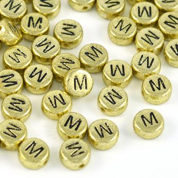 Bokstavspärlor guld *M*