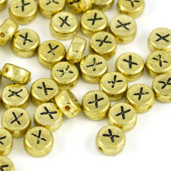 Bokstavspärlor guld *X*