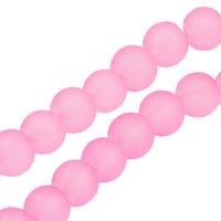 Frostade glaspärlor, rosa, 8mm – utförsäljning