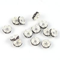 Mellandelar, eleganta rondeller med strass, grå, 6mm