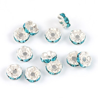 Mellandelar, eleganta rondeller med strass, ljusblå, 6mm