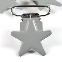 Metallclips stjärna, ljusgrå