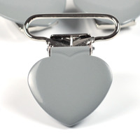 Metallclips hjärta, ljusgrå