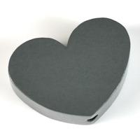 Motivpärla stort hjärta, mörkgrå