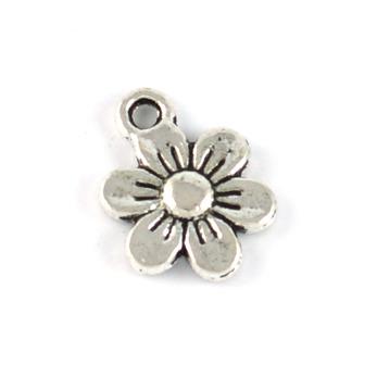Berlock, blomma, antiksilver, 10mm