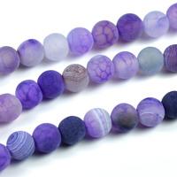 Frostade och kristalliserade agat pärlor, lila, 6mm