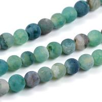 Frostade och kristalliserade agat pärlor, smaragdgrön, 6mm