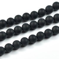 Lätt frostade agat pärlor, mattsvart, 6mm