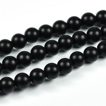 Lätt frostade agat pärlor, svart, 6mm