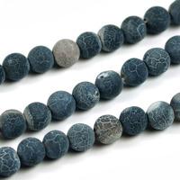 Frostade och kristalliserade agat pärlor, svart, 6mm