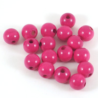 Träpärlor fuchsia, 10mm