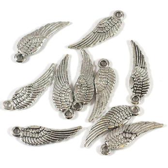 Berlock, små vingar, antiksilver, 5x15mm