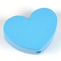 Motivpärla stort hjärta, himmelsblå