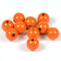 Träpärlor orange, 12mm