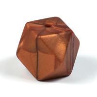 Kantig silikonpärla, 18mm, koppar marmorerad