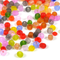 6/0 Seed beads, frostad transparent mix, 4mm