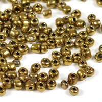 6/0 Seed beads, guld metallic, 4mm