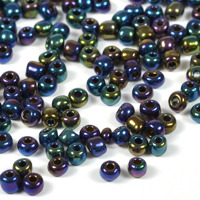 6/0 Seed beads, midnattsblå metallic, 4mm