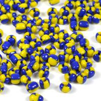 6/0 Seed beads, tvåfärgad marinblå-gul, 4mm
