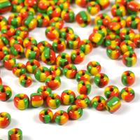 6/0 Seed beads, trefärgad röd-gul-grön, 4mm