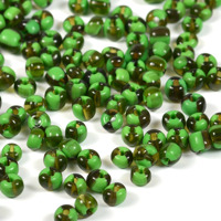 6/0 Seed beads, tvåfärgad grön-transparent svart, 4mm