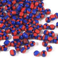 6/0 Seed beads, tvåfärgad marinblå-röd, 4mm