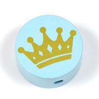 Motivpärla guldkrona, ljusblå