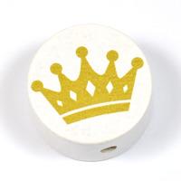 Motivpärla guldkrona, vit
