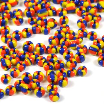 6/0 Seed beads, trefärgad röd-gul-marinblå, 4mm