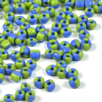 6/0 Seed beads, tvåfärgad ljusgrön-kornblå, 4mm