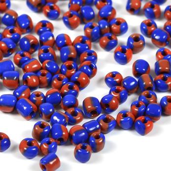 6/0 Seed beads, tvåfärgad marinblå-karminröd, 4mm