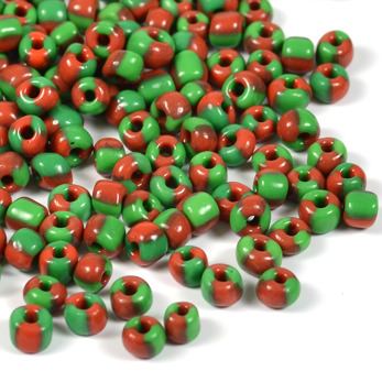 6/0 Seed beads, tvåfärgad grön-karminröd, 4mm