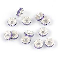 Mellandelar, eleganta rondeller med strass, lavendel, 6mm