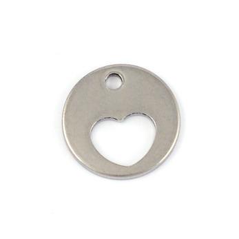 Rund berlock med utstansat hjärta, rostfritt stål, 12mm