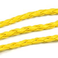 Flätat konstlädersnöre, gul, 3mm – utförsäljning
