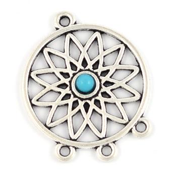 Berlock / connector drömfångare med pärla, 27mm, 2st