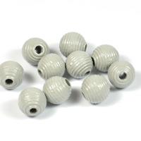 Räfflade träpärlor ljusgrå, 10mm