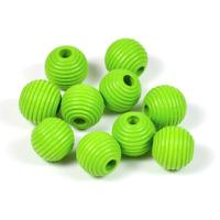 Räfflade träpärlor ljusgrön, 10mm