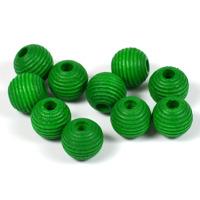 Räfflade träpärlor grön, 10mm