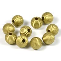 Räfflade träpärlor guld, 10mm