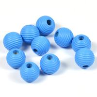 Räfflade träpärlor himmelsblå, 10mm