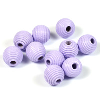 Räfflade träpärlor lavendel, 10mm