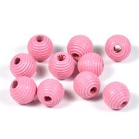 Räfflade träpärlor rosa, 10mm