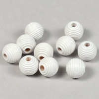 Räfflade träpärlor vit, 10mm